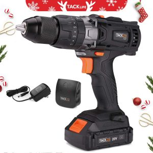 TACKLIFE 1:2 Cordless Drill Driver Set with Hammer with LED, 2.0Ah Li-Ion Battery