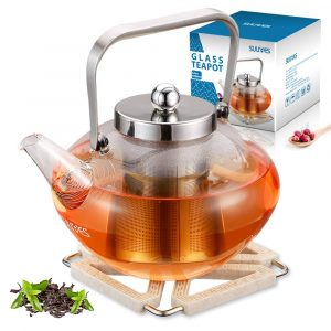 SULIVES Glass Teapot with Lid and Stainless Steel Infuser