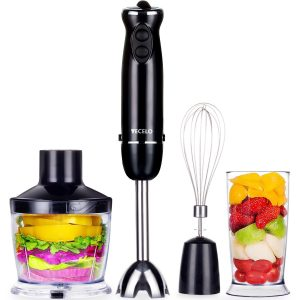 VECELO 700W 4-in-1 Immersion Hand Blender with 6 Variable Speeds