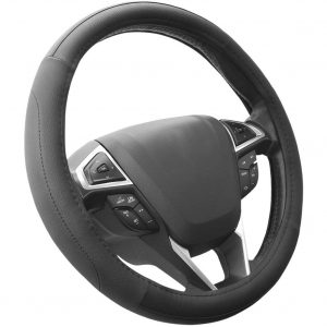 SEG Direct Black Microfiber Leather Steering Wheel Cover