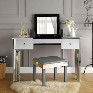 Inspired Home Mirrored Vanity Table