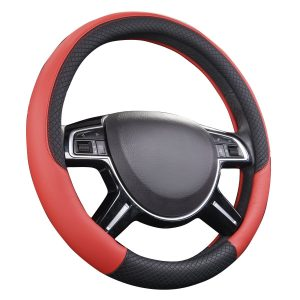 CAR PASS Rhombus Leather Universal Steering Wheel Cover