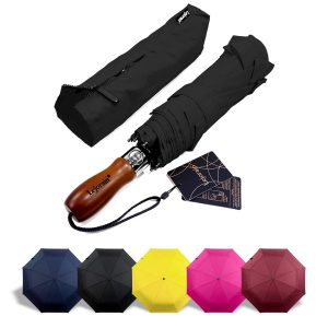 Lejorain 54inch Auto Open Close Large Umbrella Folding Golf Size Umbrella
