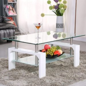 Mecor Rectangle Glass White Modern Side Coffee Table