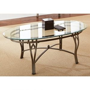 Contemporary Style Tempered Glass-top Maison Oval Coffee Table