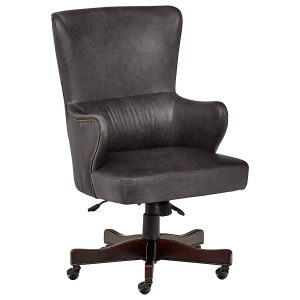 Stone & Beam Benton Black Leather Swivel Office Chair