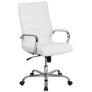 Flash Furniture High Back Executive White Leather Swivel Chair