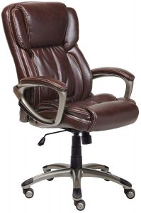 Serta Works Executive Bonded Leather Office Chair, Brown