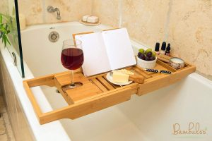 Bathtub Caddy and Premium Bamboo Bed Tray Combo Mold Resistant
