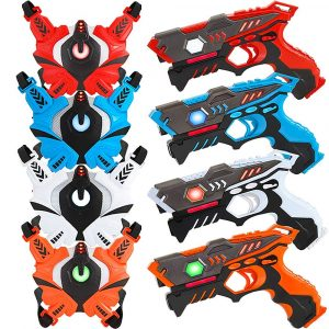 Lukat Laser Tag Guns Set with Vests, Infrared Guns Set of 4 Players