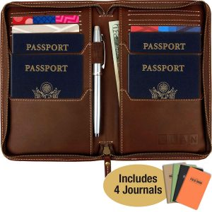 Excello Global Products Leather Travel Wallet and Passport Holder