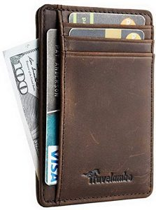 Travelambo Front Pocket RFID Blocking Leather Slim Wallet
