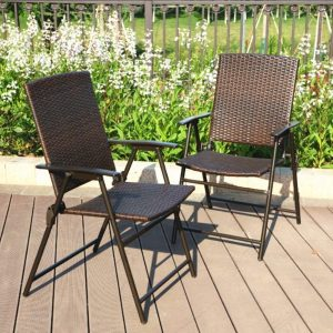 PHI VILLA Patio Rattan Folding Chair