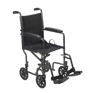 Drive Medical Lightweight 19 Seat Steel Transport Wheelchair, Silver
