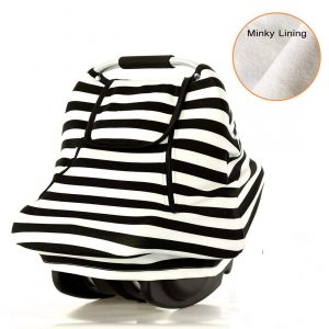 AMAZLINEN - Black and White Stripe Baby Car Seat covers