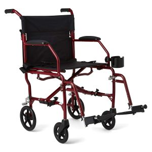 Medline Ultralight 19 inches Wide Seat Transport Mobility Wheelchair