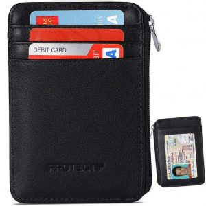 Protectif Rfid Blocking Sleeves Front Pocket Wallet for Men with Zipper