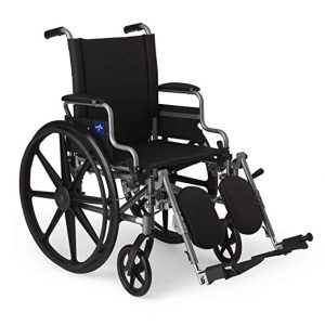 Medline User-Friendly and Lightweight Wheelchair with Flip-Back, Black