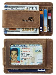 NapaWalli Leather Magnetic money Front Pocket Wallet with RFID Blocking