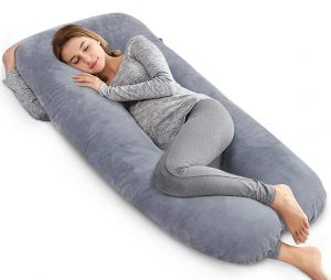 AngQi Unique Full Pregnancy U Shaped Body Pillow, Gray