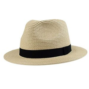 Outdoor Shaping-Men's Havana Straw Panama Summer Fedora Sun Hat