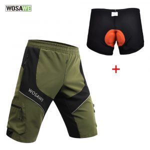 WOSAWE Loose-Fit Cycling MTB Shorts and Padded Underwear