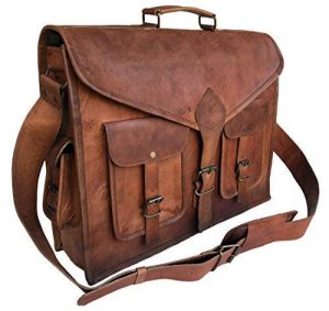 KPL 18-Inch Rustic Vintage Leather Messenger Briefcase Satchel Bag