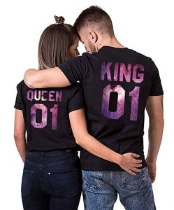 Double Fashion King Queen Matching Couple Valentine Birthday Wedding T-Shirt