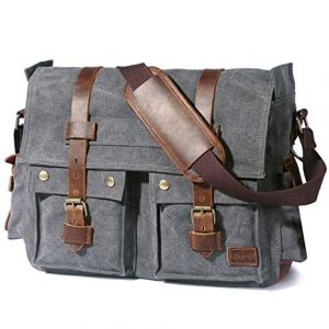 Lifewit Vintage Canvas Leather Military Shoulder Laptop Bags