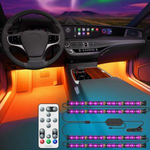DC12V Car Underglow Lights Dreamcolor LEDCARE Exterior Car LED Strip Lights 16 Million Colors 2/×47inch+2/×35inch Neon Accent Lights Kit,Under Lights for Car Sync to Music and APP Control