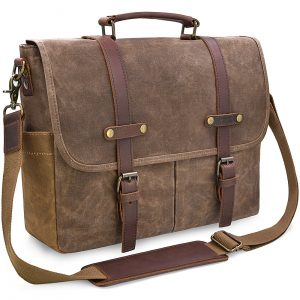 NEWHEY 15.6 Inch Waterproof Vintage Genuine Leather Waxed Canvas Briefcase Laptop Bag