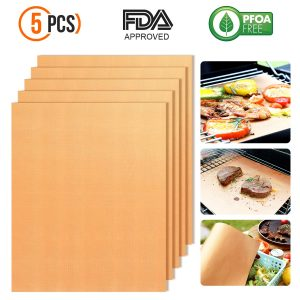 Chefmos Copper Grill Mats Non-Stick BBQ Grill Mat Bake Mat for Barbecue Grilling & Baking