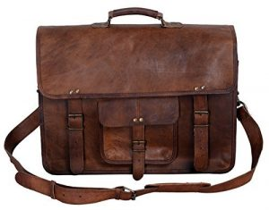 KPL 18-Inch Vintage Men's Brown Handmade Leather Briefcase Messenger Bag Satchel
