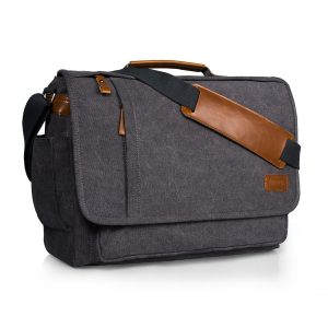 Estarer Laptop Messenger Bag Water-Resistance Canvas Shoulder Bag