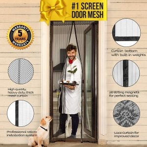 Lazy Monk Magnetic Screen Door with Magnets with Mesh & Mosquito Screen