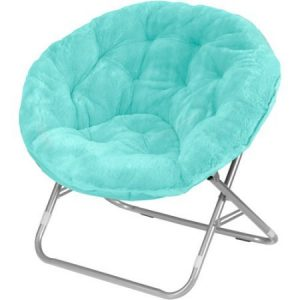 Urban Shop 225 lbs Capacity Foldable Steel Frame Faux-Fur Saucer Folding Chair