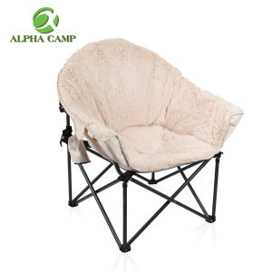 ALPHA CAMP Deluxe Plush Oversized Moon Saucer Chair with Carry Bag