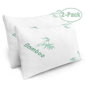 Plixio Cooling Shredded Memory Foam Pillows for Bed with Hypoallergenic Bamboo Cover