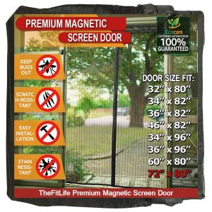 TheFitLife Heavy Duty Mesh Curtain Magnetic Screen Door with Full Frame Hook & Loop