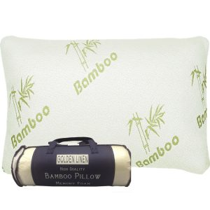 Goldenlinens Bamboo Pillow Memory Foam, Stay Cool Removable Cover with Zipper