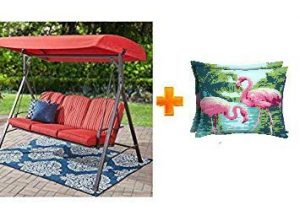 Mainstay Patio Forest Hills Steel Porch Swing Plush Cushions, 3 Persons