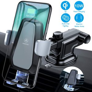 VANMASS Wireless Car Charger Mount Qi Car Mount, Windshield Dashboard Air Vent Phone Holder