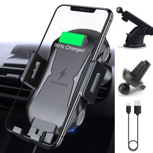 Kikistep Auto Clamping 10W 7.5W Qi Car Phone Holder Wireless Car Charger