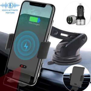 LEXONIX Voice Activated Auto Clamping Qi 10 7.5W Fast Charging & 5W Car Mount Phone Holder