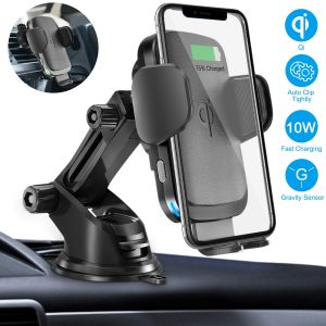 Cshidworld Auto Clamping Qi Fast Charging Car Mount Wireless Charger