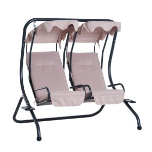 Outsunny 2 Seat Modern Outdoor Swing Chairs with Removable Canopy