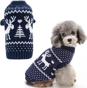 BINGPET Small Puppy Dog Sweaters with Cute Reindeer