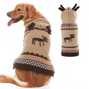 PUPTECK Christmas Reindeer Pattern Dog Hooded Sweater