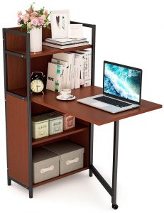 Tribesigns Small Folding Computer Desk with Storage Shelves