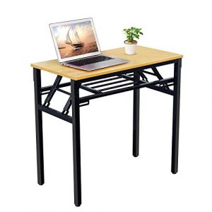 Suninhome Folding Small Computer Desk with Adjustable Legs